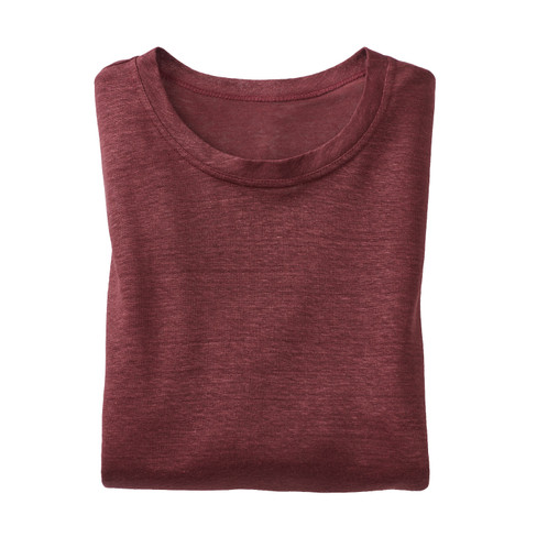 Linnen shirt met lange mouwen, granaat XL