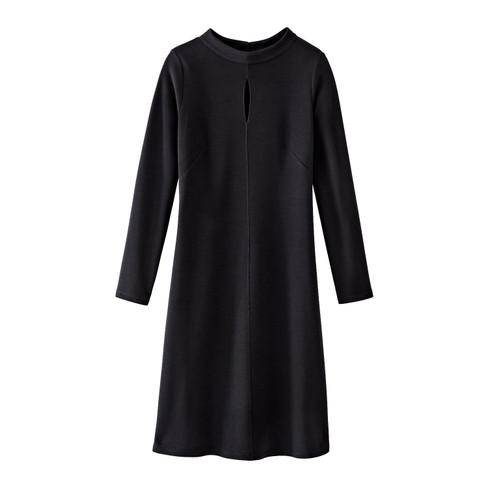Elegante wollen jersey jurk, zwart 46