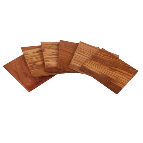 Gourmetonderzetters van olijvenhout, 6-dlg. set
