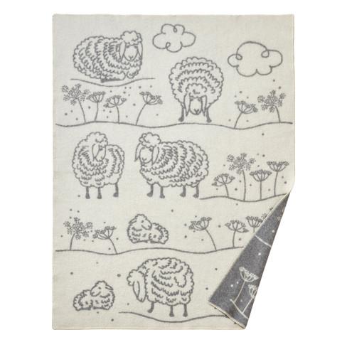 Woondeken met schapen van scheerwol, grijs-natuur 140 x 200 cm