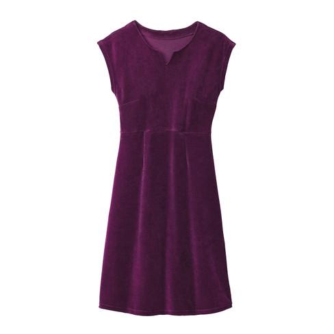 Velours jurk, purple 38