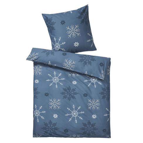 Zachte flanellen beddengoedset, 2 dlg, rookblauw 80 × 80 155 × 220 cm