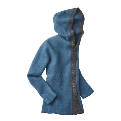 Wollen jas met capuchon, petrol-antracietgrijs XL