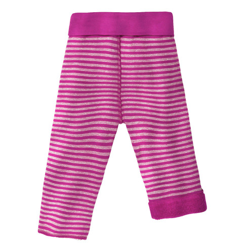 Omkeerbare fleece babybroek, fuchsia/naturel