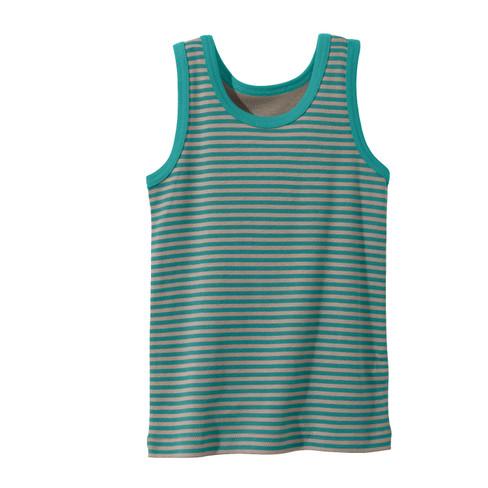 Onderhemd jongens van bio-katoen, smaragdgroen-gestreept 86/92