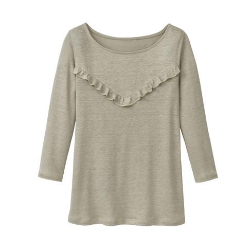 Linnen-jersey shirt met ruches, riet 44/46
