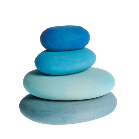 Houten stapelstenen, 4-delige set, Blauw-tinten