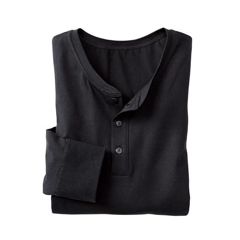 Shirt met knoopsluiting en lange mouw, zwart XXL