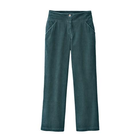 Katoenfluwelen broek MARLENE, smaragd 36