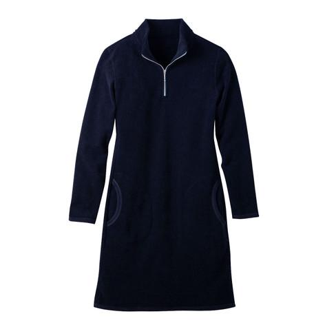 Badstof-jurk van bio-katoen met opstaande zipper-kraag, nachtblau 34