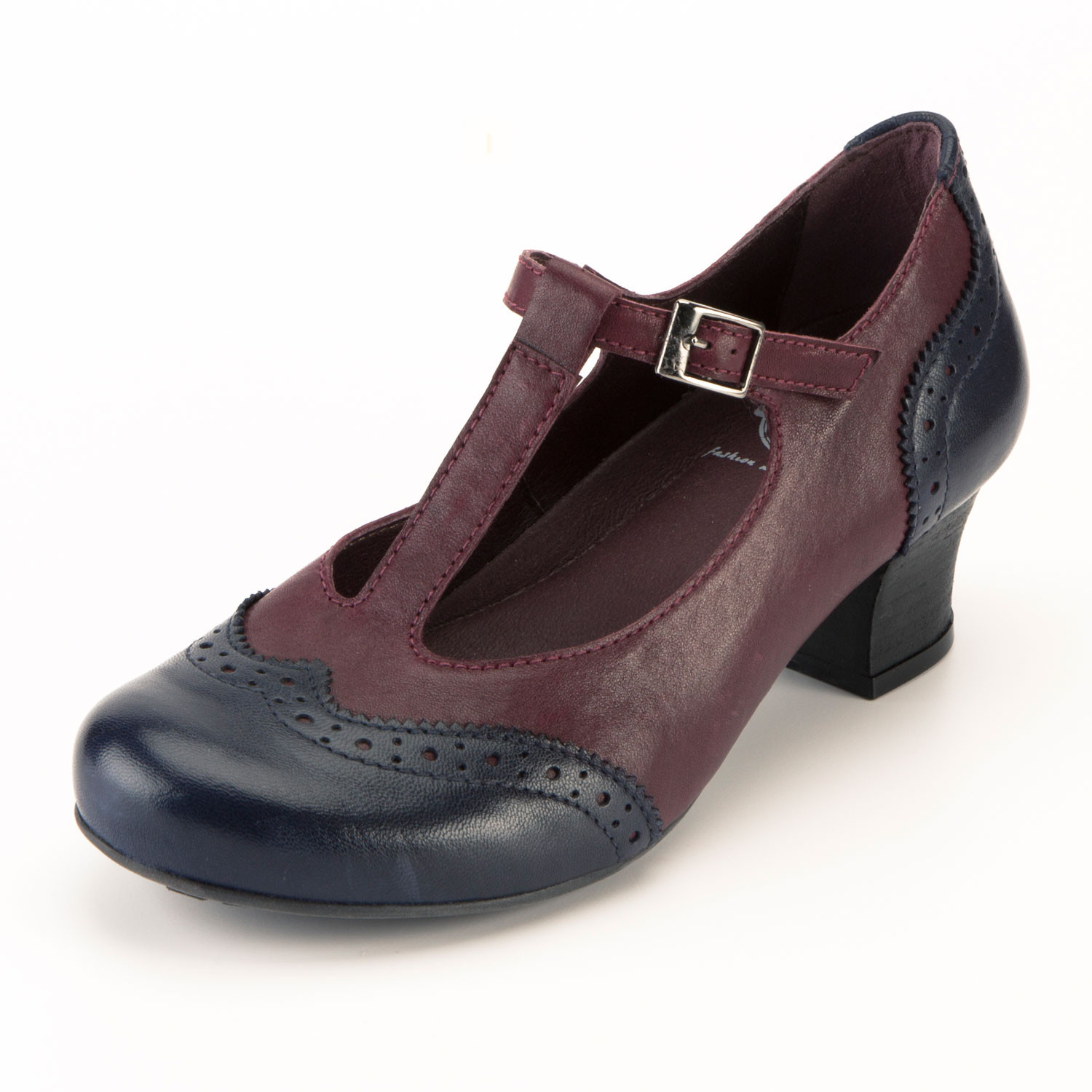 "Brako Pumps met bandje""Minthy"", bordeaux/combi 