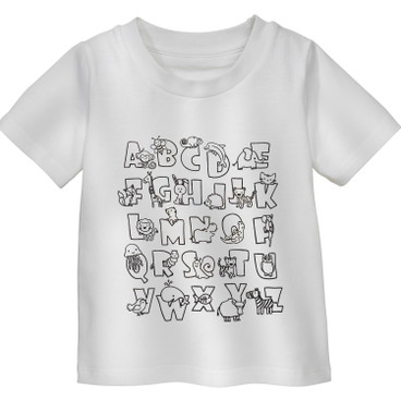 Shirt met korte mouw ABC, Wit