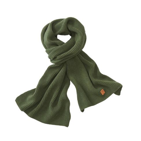 Zachte ribgebreide sjaal van bio-katoen, dennen