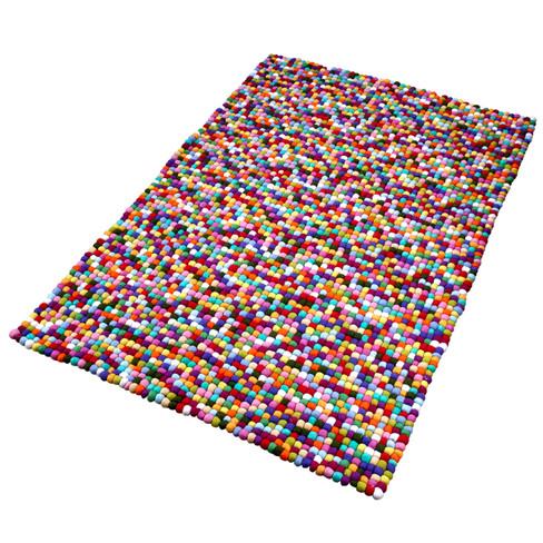 Scheerwollen vilten tapijt, multicolor 90 x 160 cm