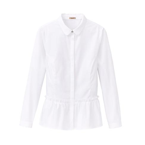 Biologisch katoenen blouse met ruches, Wit 34