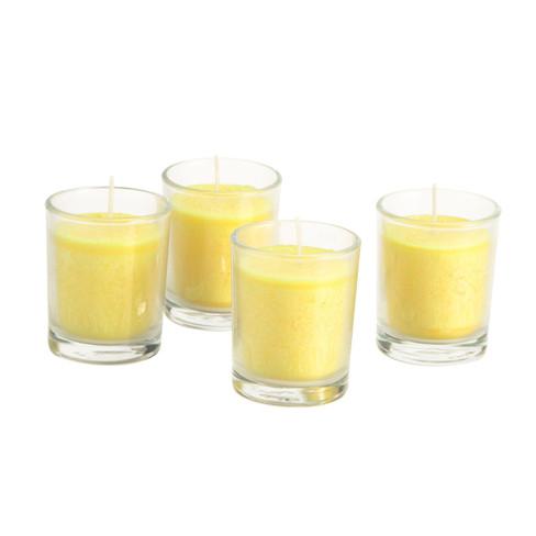 Kaars in glas, 4-dlg. set, geel � 5,5 � h 6,5 cm