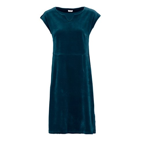 Velours jurk, petrol 42