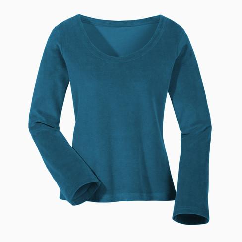 Biokatoenen nicki shirt met ronde hals, petrol 36/38